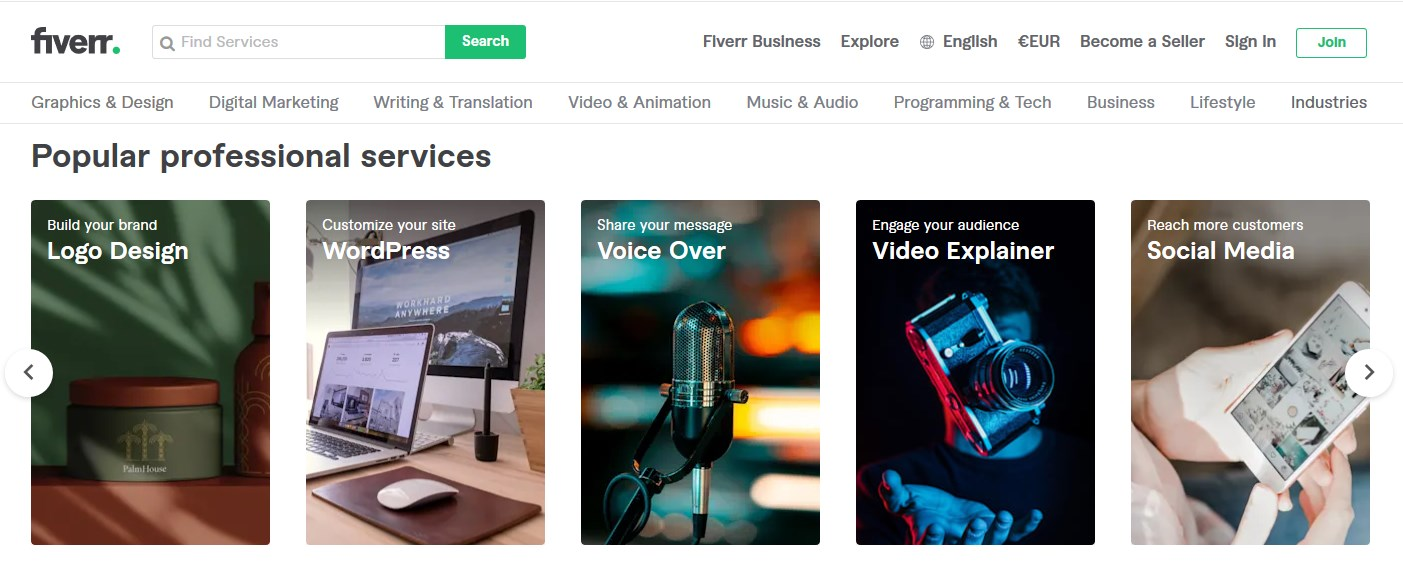 Fiverr.com - Plattform für freelancer international